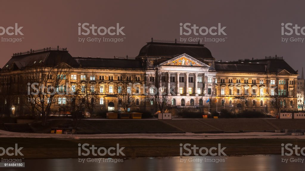 Saxon State Ministry of Education on the embankment of the Elbe in Dresden at night, Germany stock photo