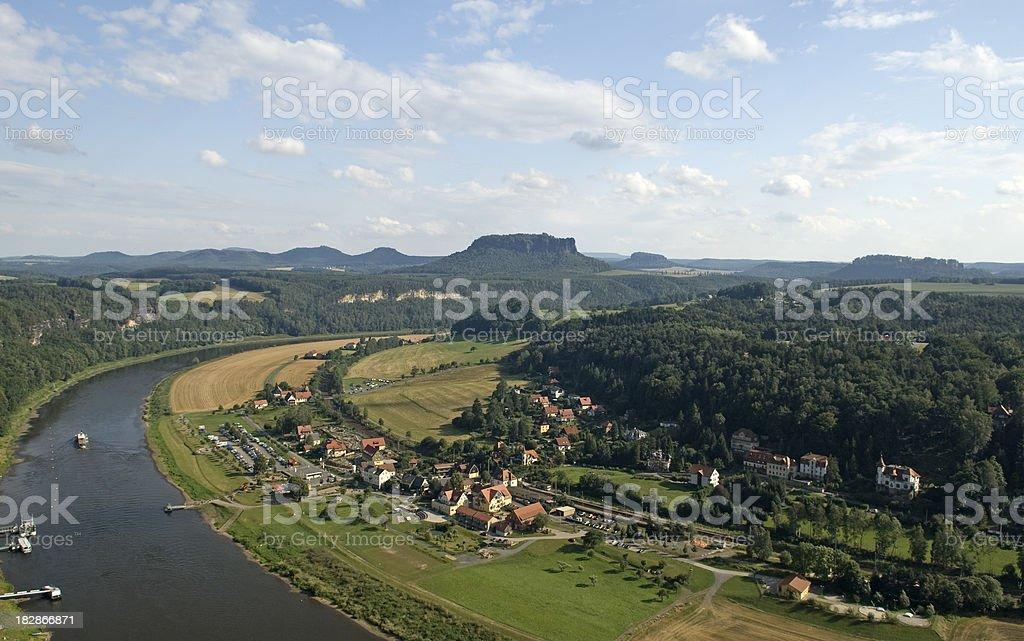 Saxon Switzerland and Elbe River stock photo