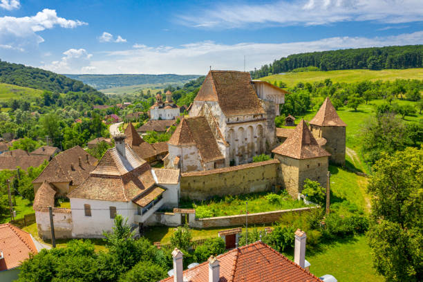 Saxon Village in Transylvania aerial view of Roades stock photo
