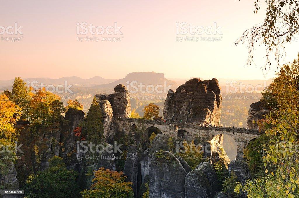 Saxony Bastei Rocks Bridge before Sunset Fall stock photo