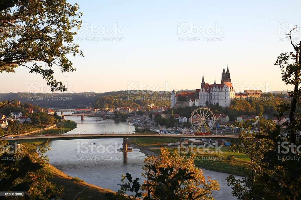 Saxony Meissen Bridge Albrechtsburg Fall royalty-free stock photo
