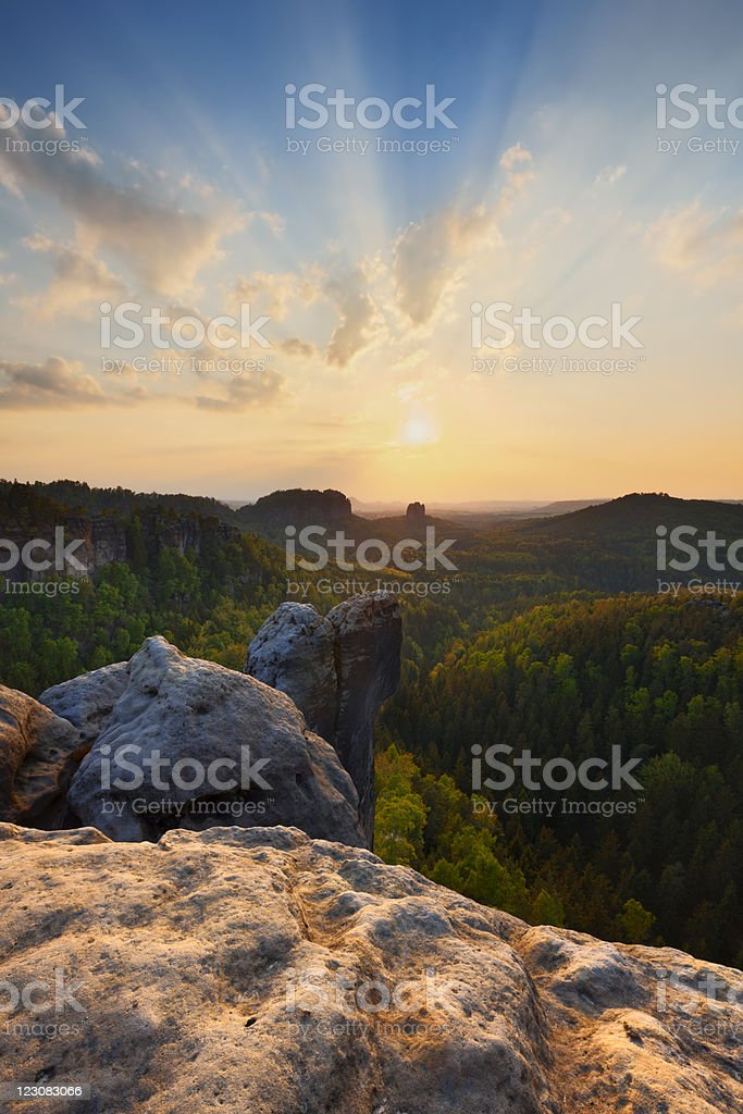 Saxony Swizerland Sunset stock photo