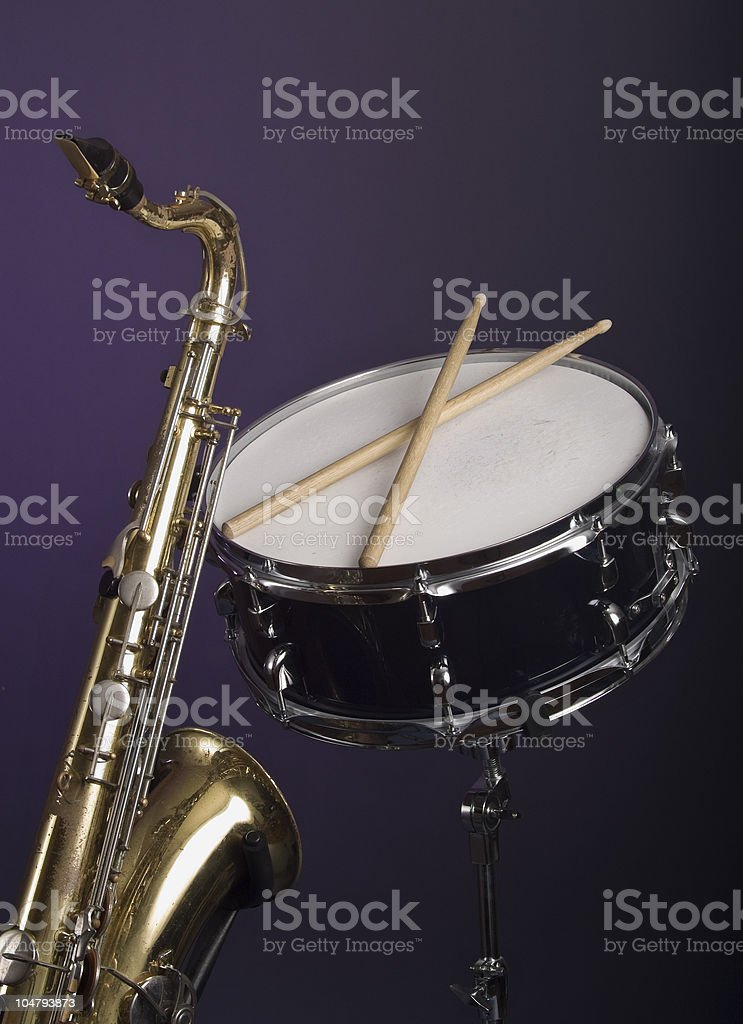 Saxophone and Snare Drum royalty-free stock photo