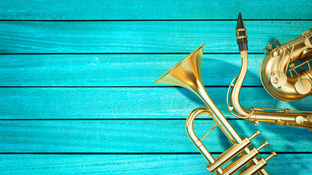 Saxophone and trumpet stock photo