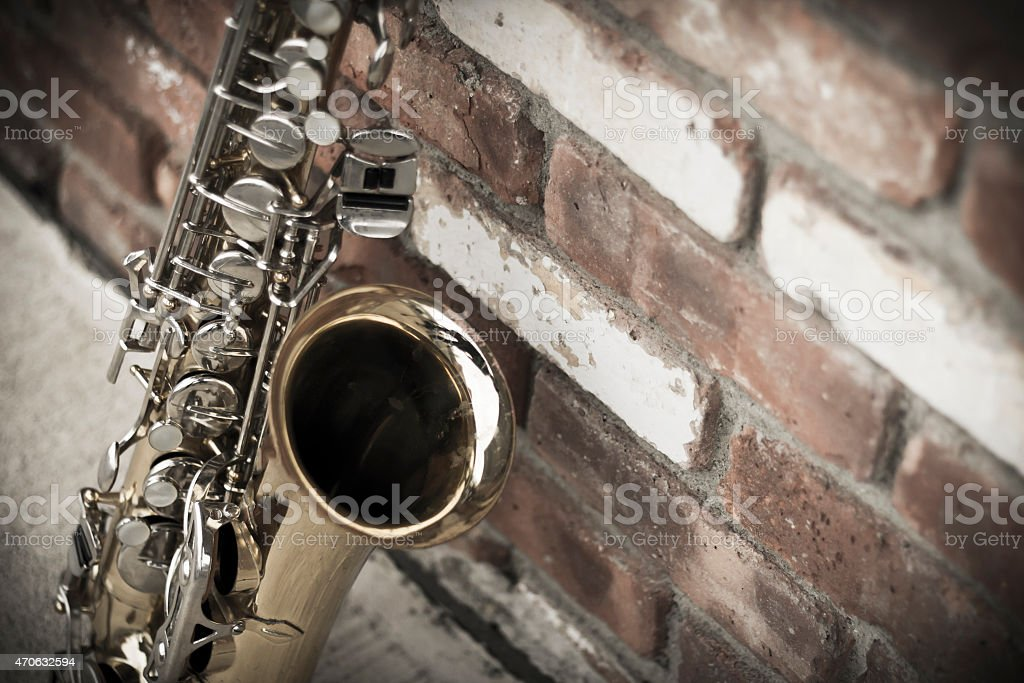 Saxophone Brick Wall stock photo
