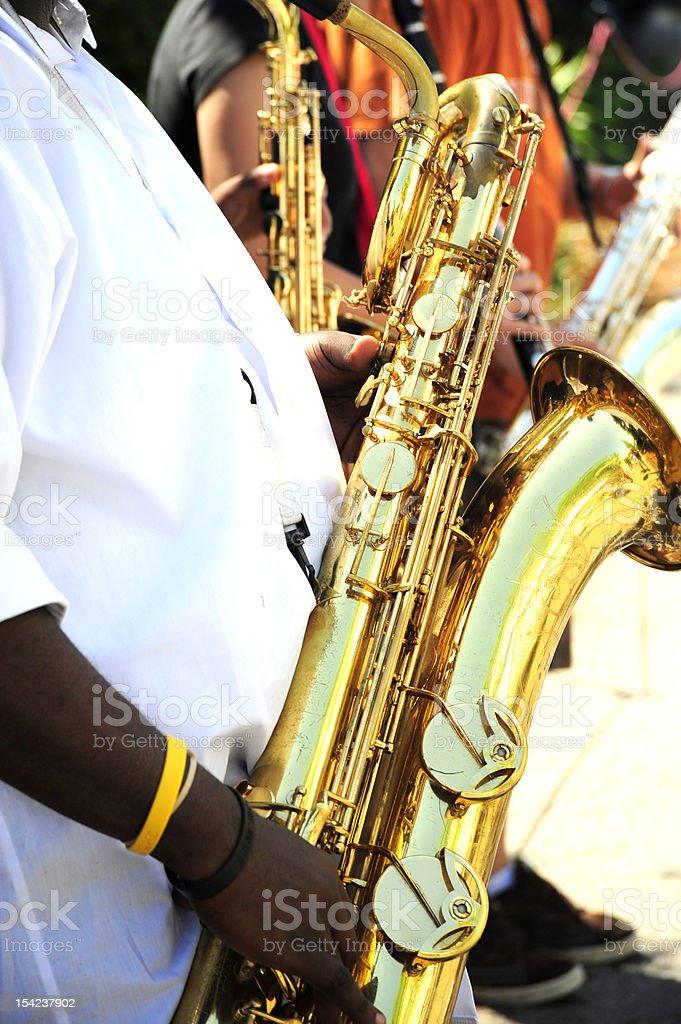 Saxophone ensemble. stock photo