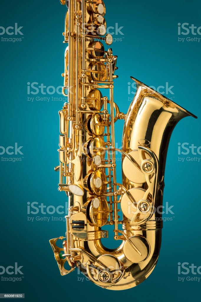 Saxophone - Golden alto saxophone classical instrument stock photo