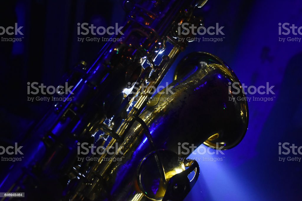 Foto de Saxophone In A Live Concert With Blue Lights