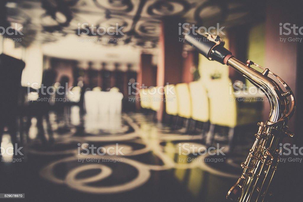 Saxophone in a restaurant stock photo