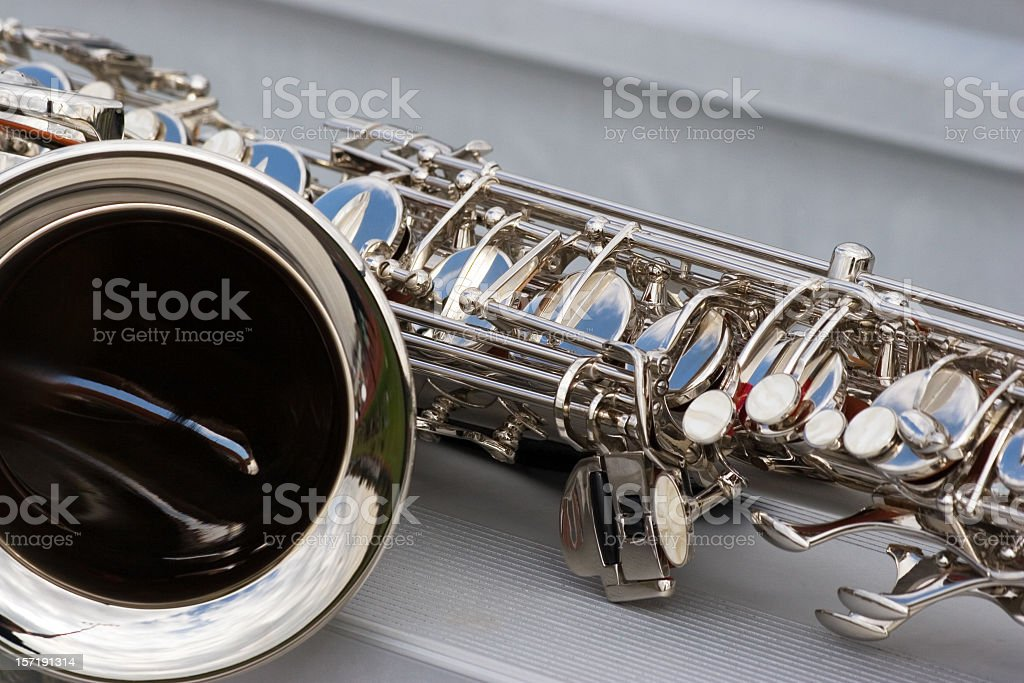 Saxophone in the Stands royalty-free stock photo