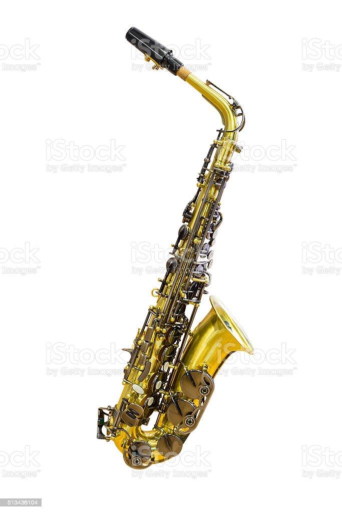 Saxophone isolated on white background stock photo