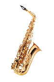 Golden alto saxophone classical instrument side view isolated on white