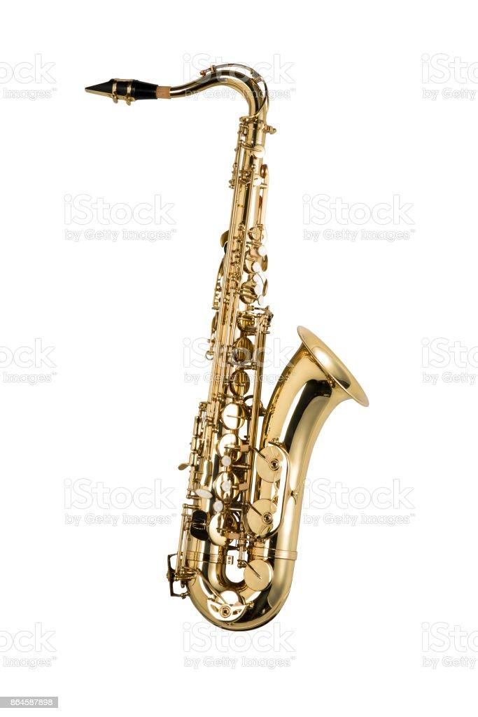 Saxophon, isoliert auf weißem Hintergrund – Foto