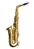 Old saxophone isolated on white background with clipping path