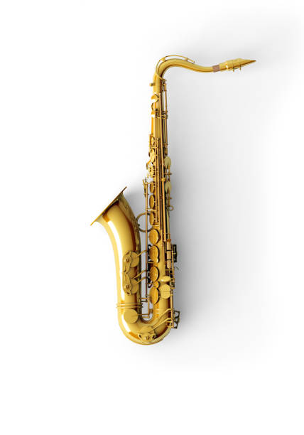 Saxophone on color background stock photo