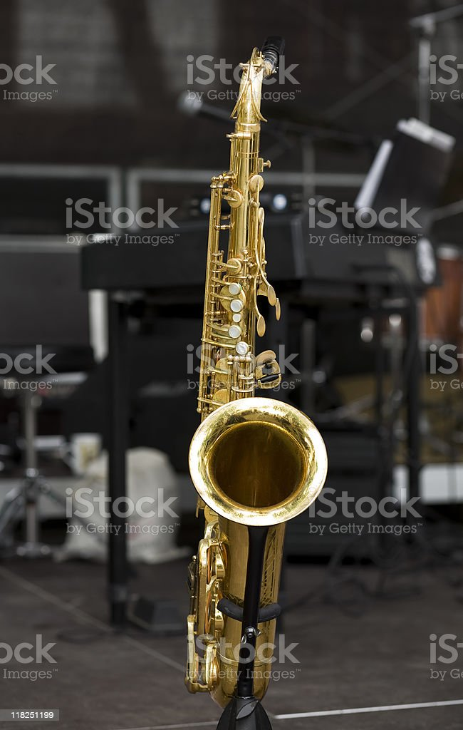 Saxophon on stage royalty-free stock photo