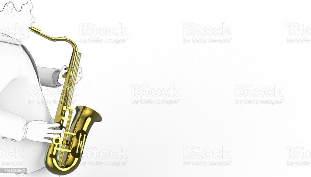 Saxophone Play Drawing Musical Instruments 01 Stock Photo