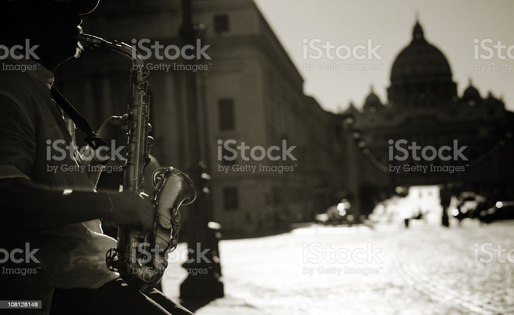 Saxophone Player City of Rome stock photo
