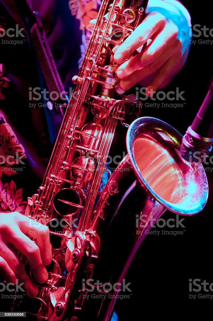 saxophone player in live perfomance stock photo