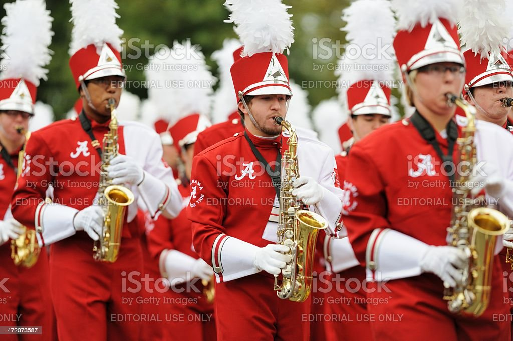 Saxophone section in marching band royalty-free stock photo
