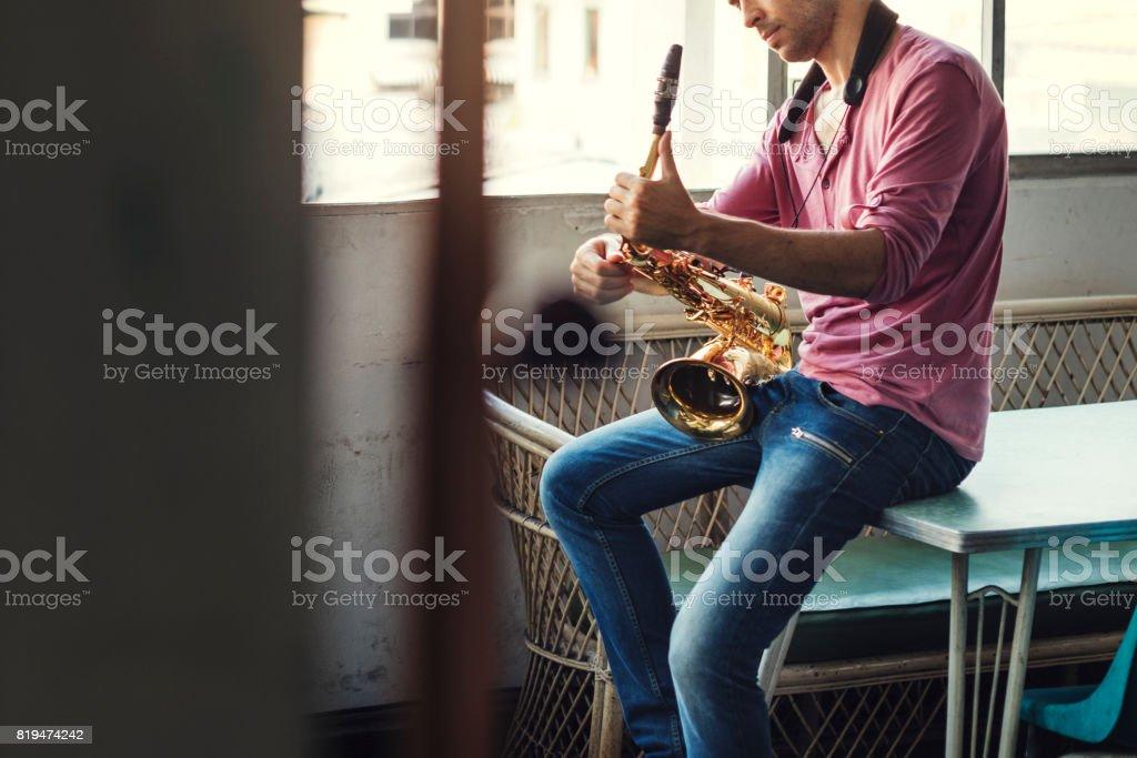 Saxophone Symphony Musician Jazz Instrument Concept stock photo