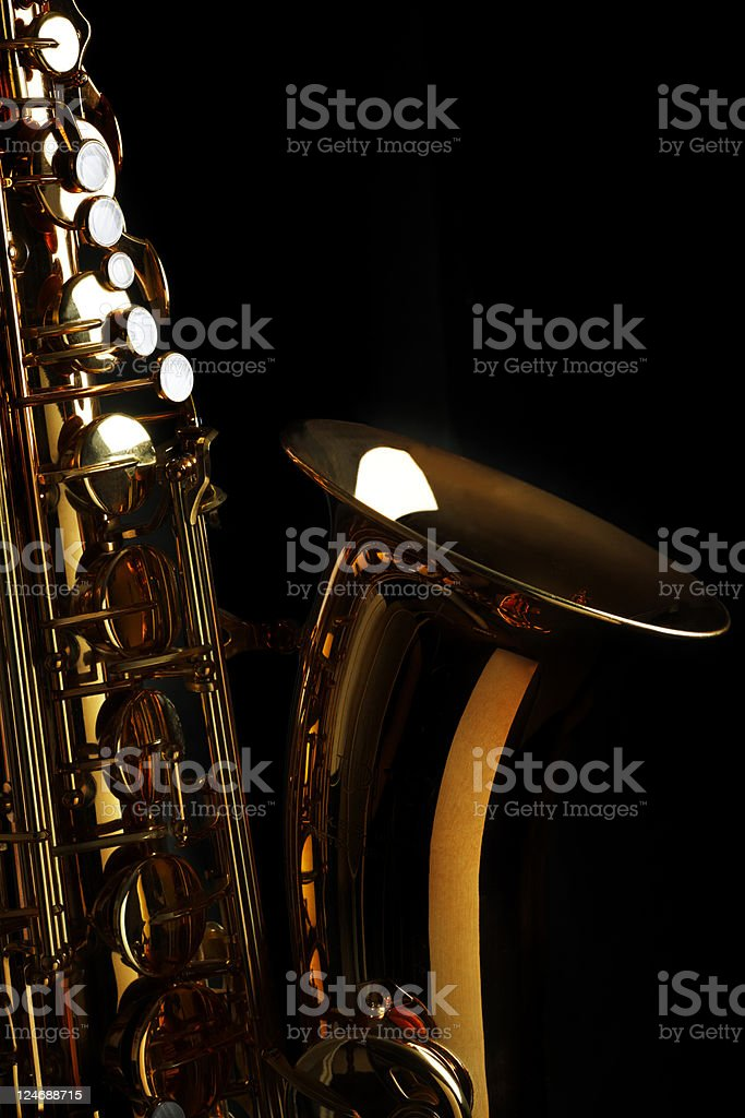 Saxophone with Black Background royalty-free stock photo