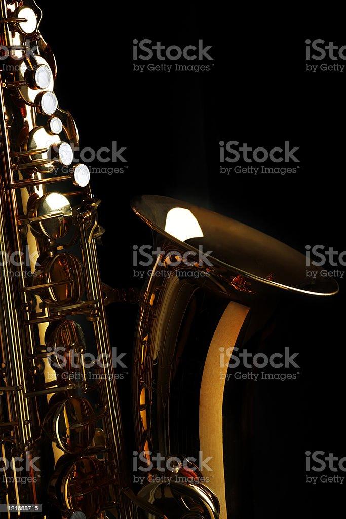 Saxophone with Black Background stock photo