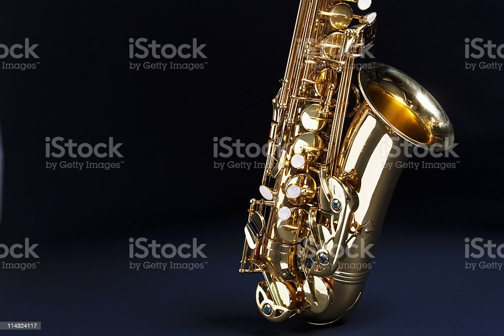 Saxophone with copy space stock photo