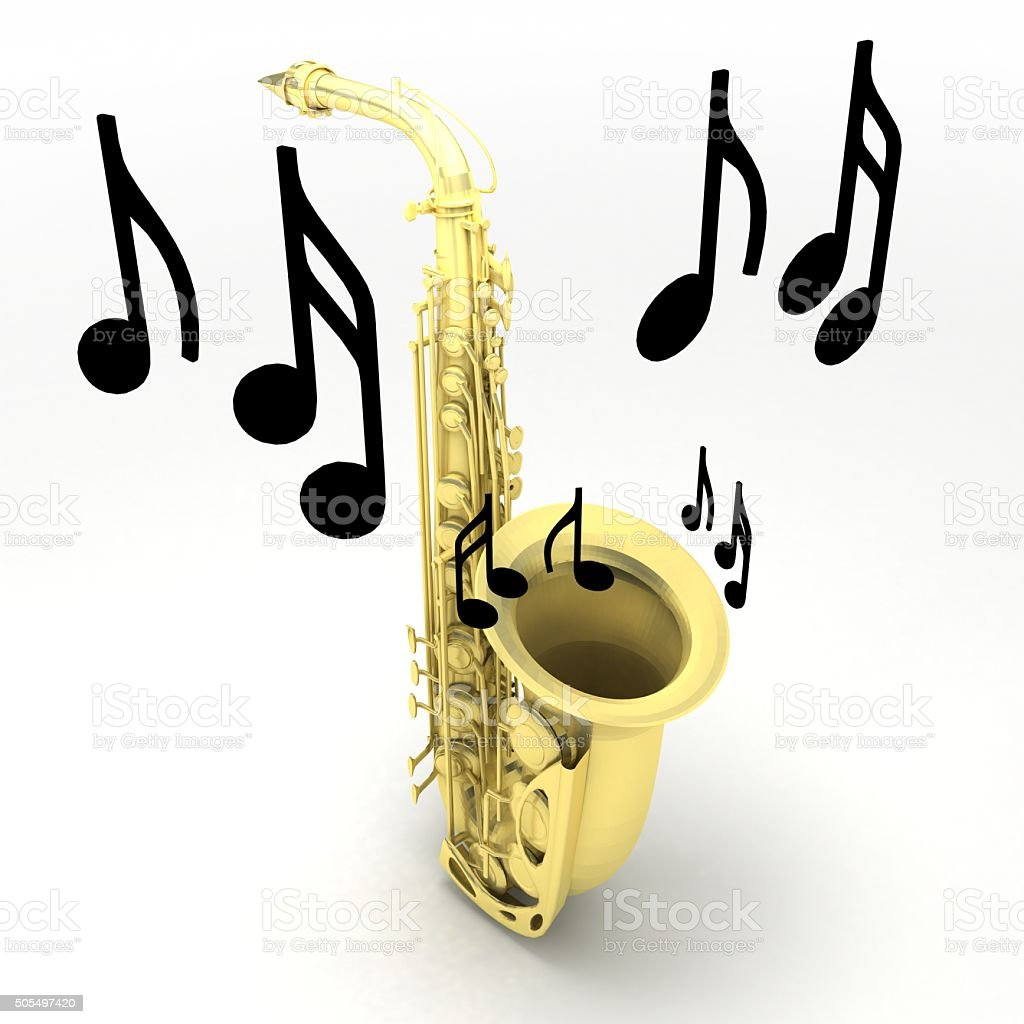 Saxophone with notes isolated on white background. Learn how to play...