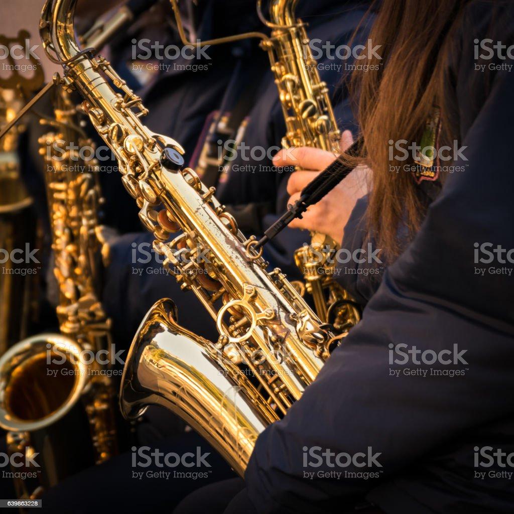 Saxophones of a municipal band. stock photo