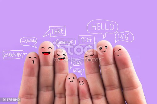 istock Say hello in different languages, fingers 911754842