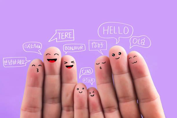 say hello in different languages, fingers - fumetto creazione artistica foto e immagini stock