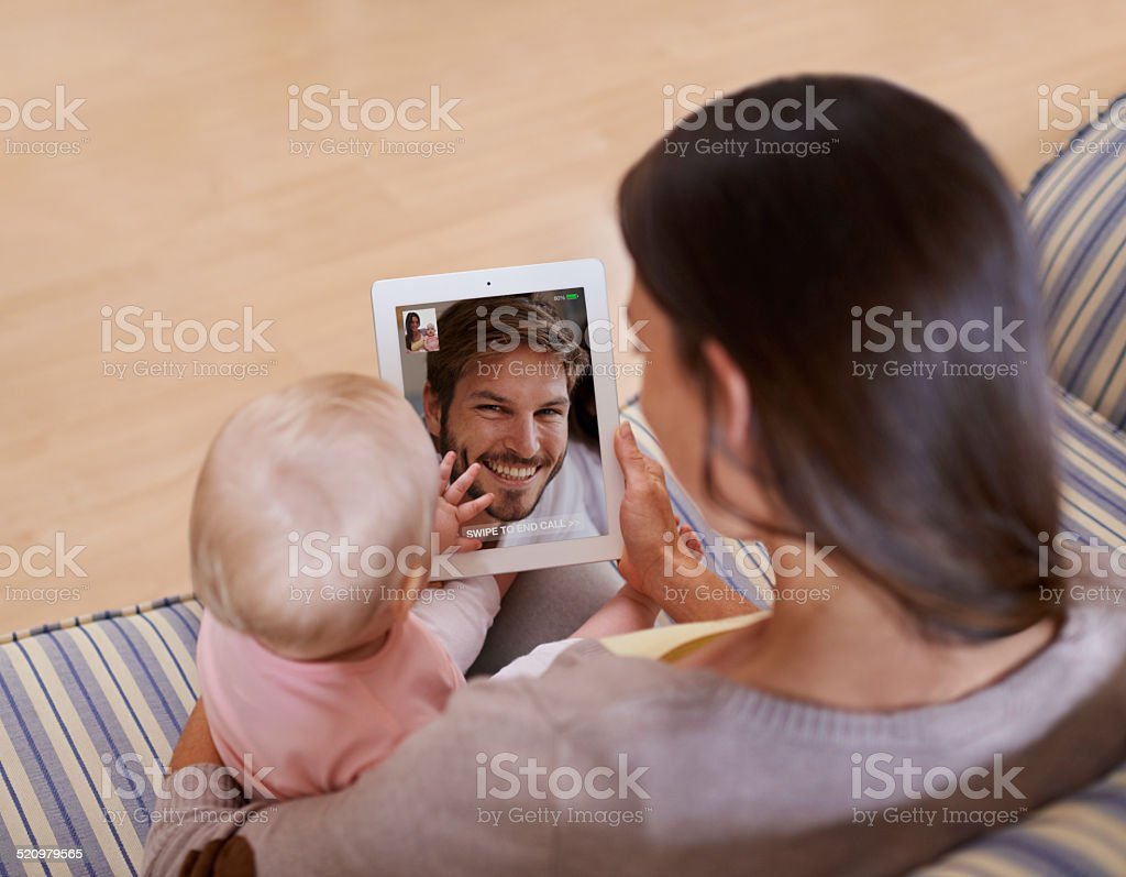 Say hi to Daddy! stock photo