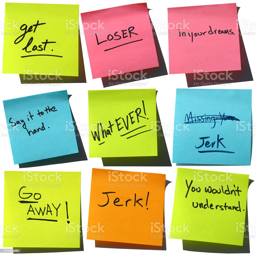 Say it with Stickies: Insults and Slang Post-it Notes stock photo