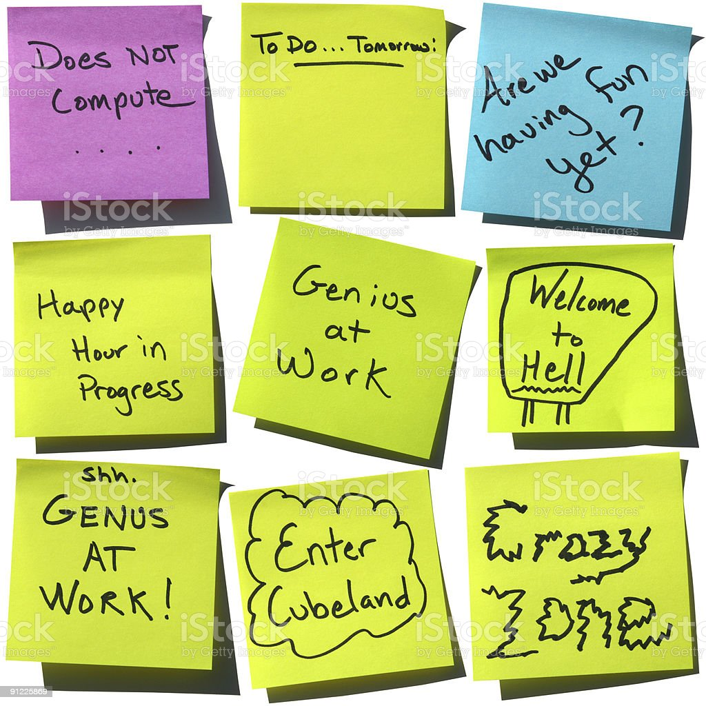 Say it with Stickies: Office Humor Post-it Notes stock photo