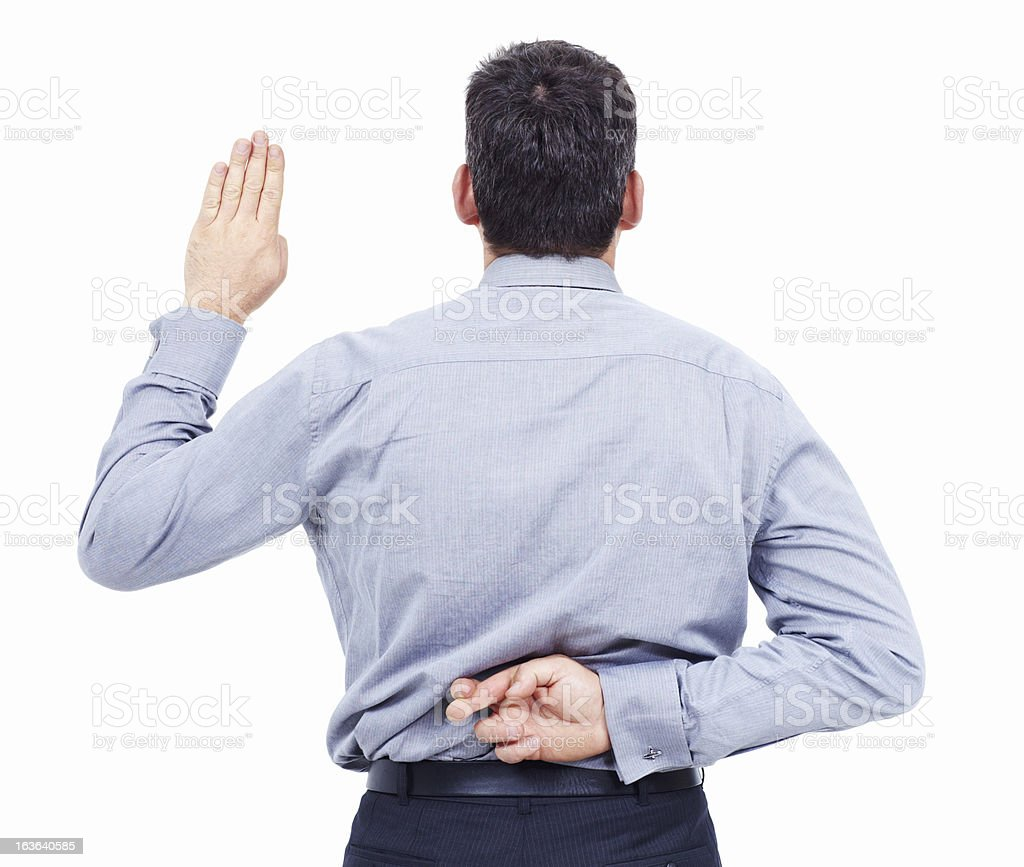Say one thing and do another stock photo