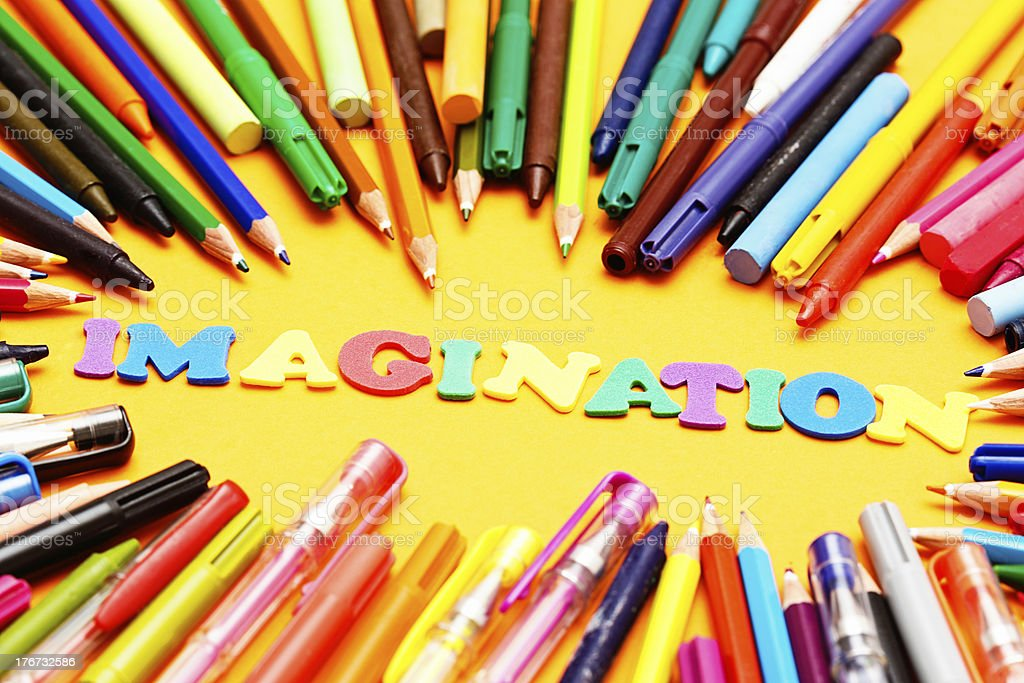 IMAGINATION say play letters surrounded by art materials: use yours! royalty-free stock photo
