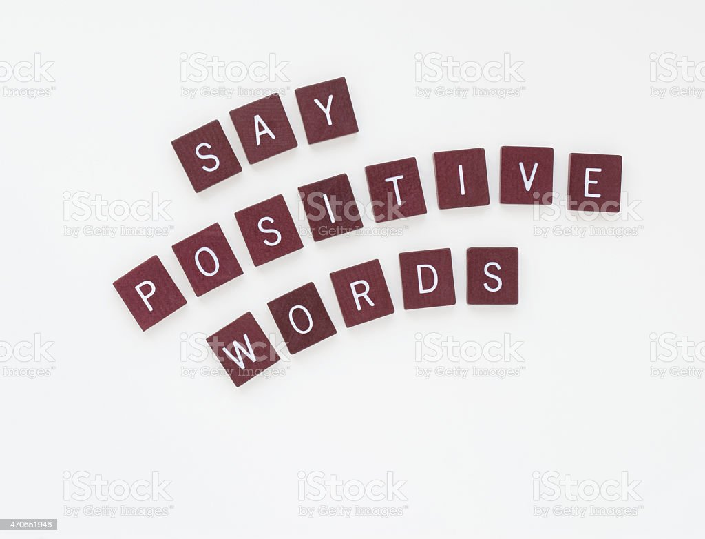 Say Positive Words With Curved Letters Stock Photo  More Pictures