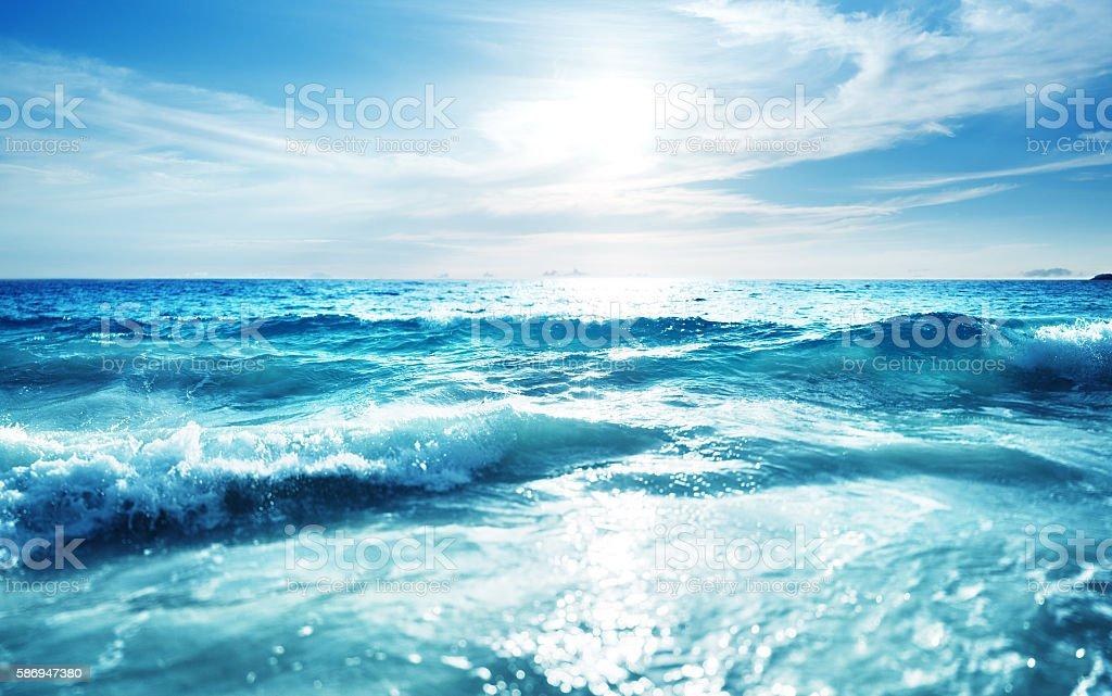 saychelles beach in sunset time, tilt shift effect stock photo