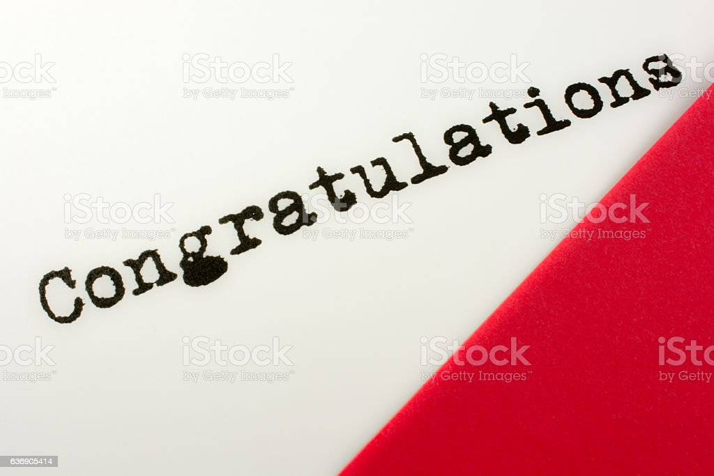 Saying- Congratulations- with red and white color, copy space stock photo