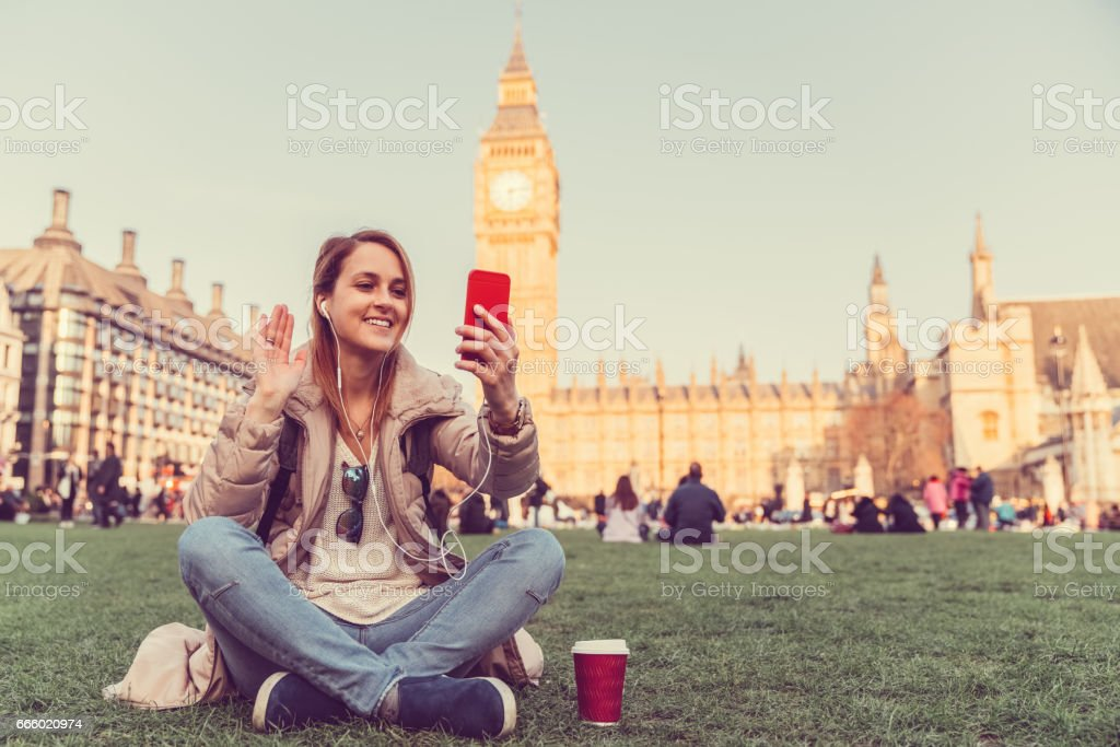 Sagen Hallo Videoanruf aus London – Foto
