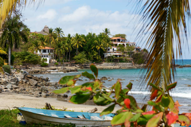 Sayulita is a village on Mexico's Pacific coast popular with surfers stock photo