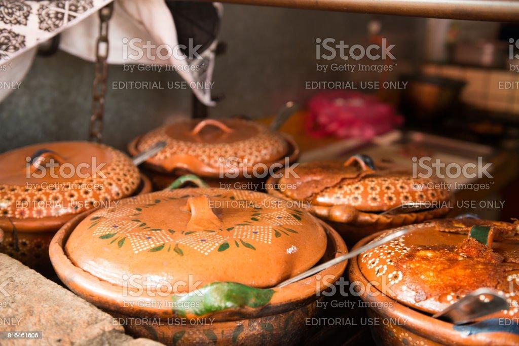 Sayulita Mexico Sidewalk Cafe Cooking with Traditonal Clay Cazuela Pots stock photo