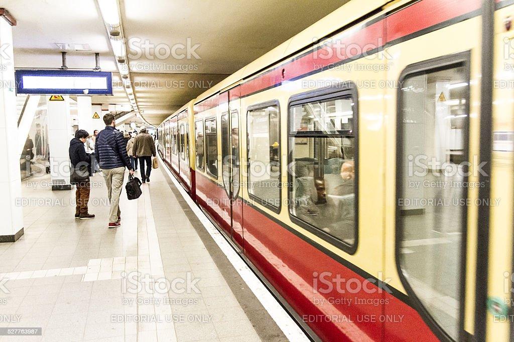 S-Bahn in Berlin at Potsdamer Platz stock photo
