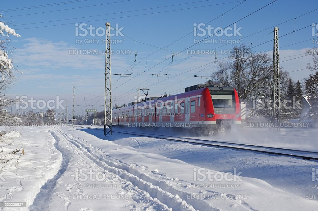 S-Bahn in the suburbs of Munich stock photo