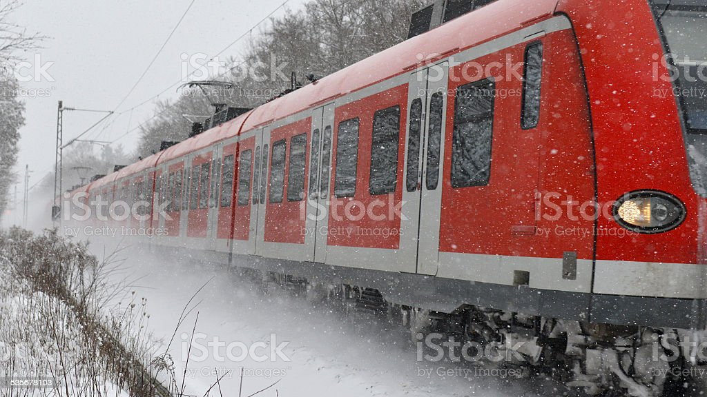 S-Bahn in Winter Weather stock photo