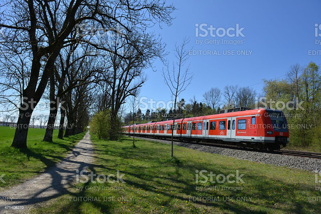 S-Bahn- Suburban Munich in Spring stock photo