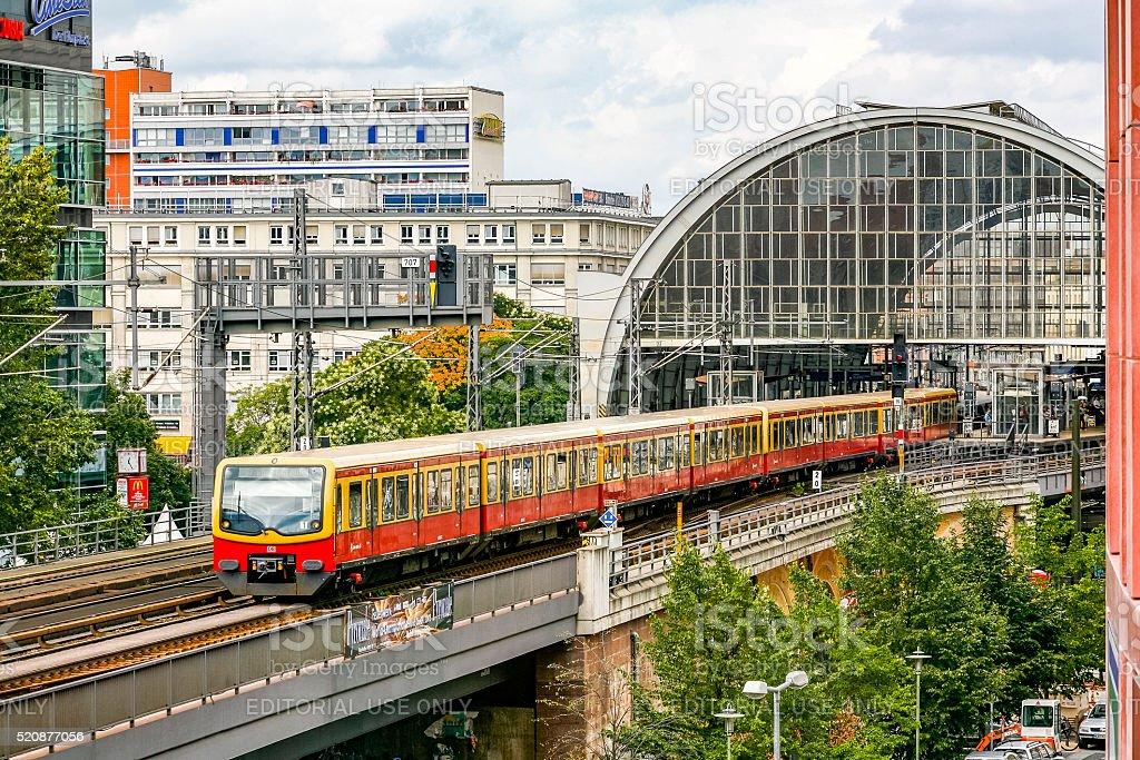 S-Bahn train departing Berlin Alexanderplatz Station (Bahnhof) stock photo