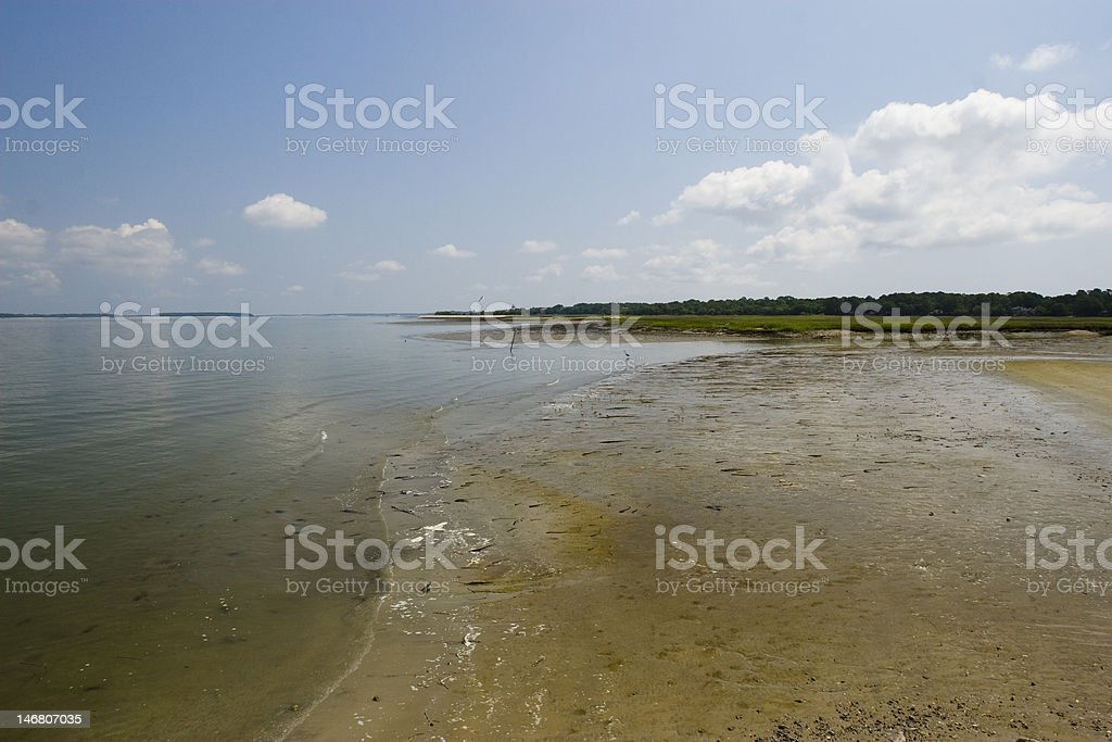 Sc beach with clouds royalty-free stock photo