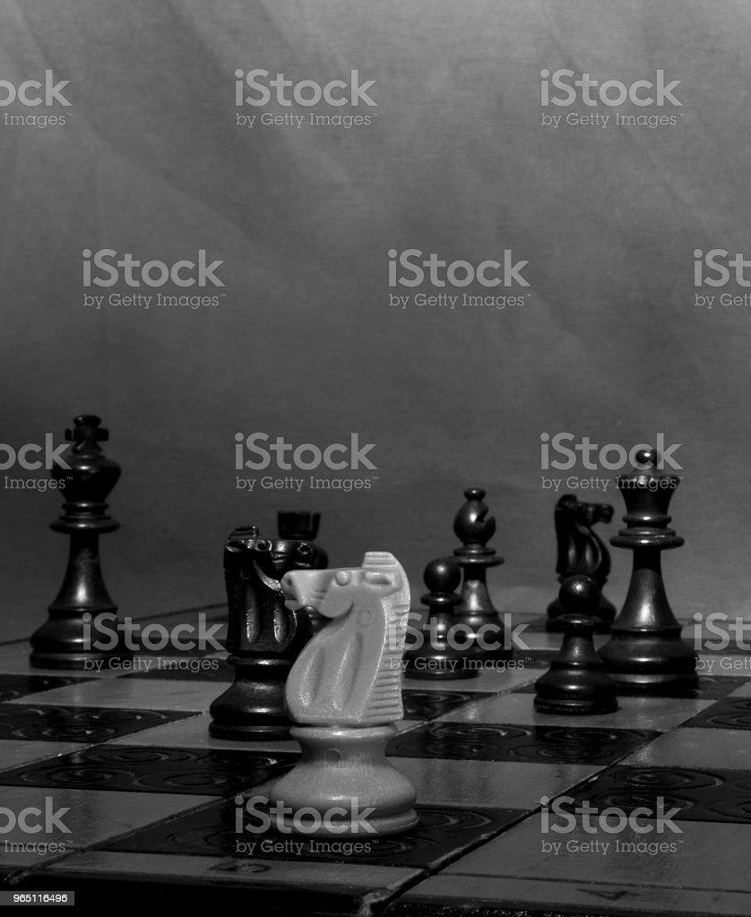Scacchi fotografati su una scacchiera zbiór zdjęć royalty-free